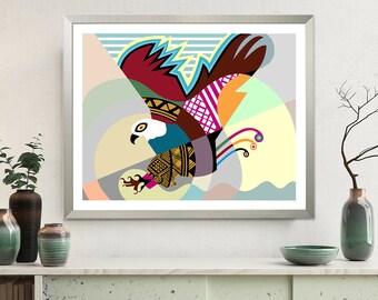 Eagle Artwork, Abstract Bird Print Bald Eagle