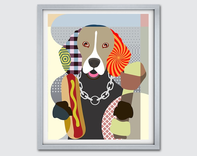 Featured listing image: Beagle Dog Art Print, Hipster Dog Wall Art Funny Pet Portrait