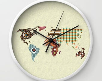 World Map Clock, Globe Clock Decor