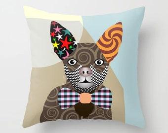 Chihuahua Pillow, Dog Cushion Hipster Animal Print Pet Decor
