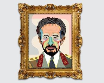 Haile Selassie Print, Rastafarian Art Black History Ethiopian Gift