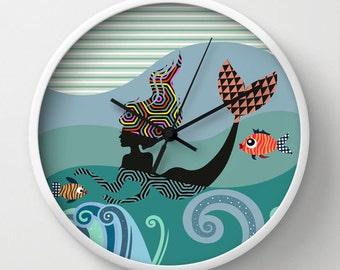 Mermaid  Wall Clock, Girls Room Decor Gift For Her