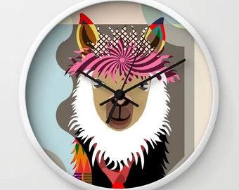 Llama Clock Decor Gift, Hipster Animal Portrait