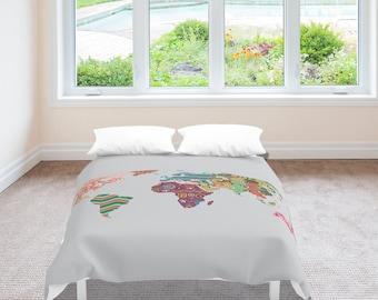 World Map Bedding, Globe Decor Duvet Cover