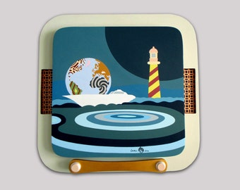 Ocean Art, Abstract Seascape Painting, Ocean Painting, Ship Painting, Abstract Acrylic Painting, Marine Art, Light House Decor, Blue