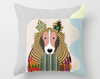 Sheltie Pillow, Shetland Sheepdog  Art Decor Gift