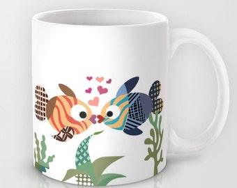 Fish Mug, Love Coffee Cup Kissing Fish Gift
