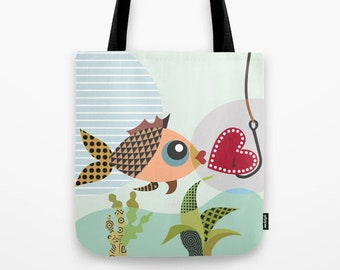 Fish Bag Love Tote, Valentine Gift Red Heart Print