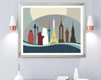 Eiffel Tower Statue of Liberty Big Ben, Sydney Tower Gherkin Clock Tower, Shard Empire State Building