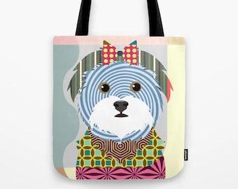 Maltese Tote, Dog Printed Canvas Bag