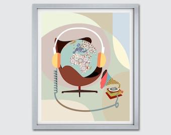 Funny Music Poster, Phonograph Art Print