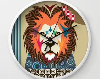 Lion Wall Clock, Safari Animal Decor Big Cat Print