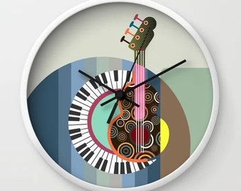 Music Clock, DJ Piano Guitar Lover Gift Room Decor