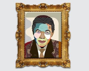 Nelson Mandela Art, South African Civil Rights Poster Portrait Decor
