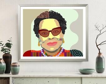 Maya Angelou Art Print, Black History Civil Rights Activist