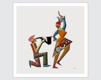 Saxophone Art Jazz Painting, Dancing Queen Gift Music Lover DJ Print