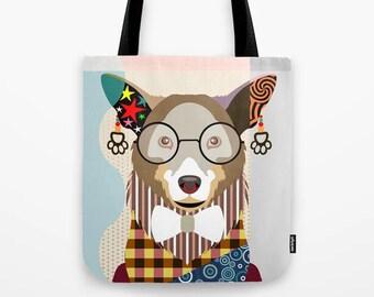Corgi Tote, PWC Pem Dog Printed Canvas Bag