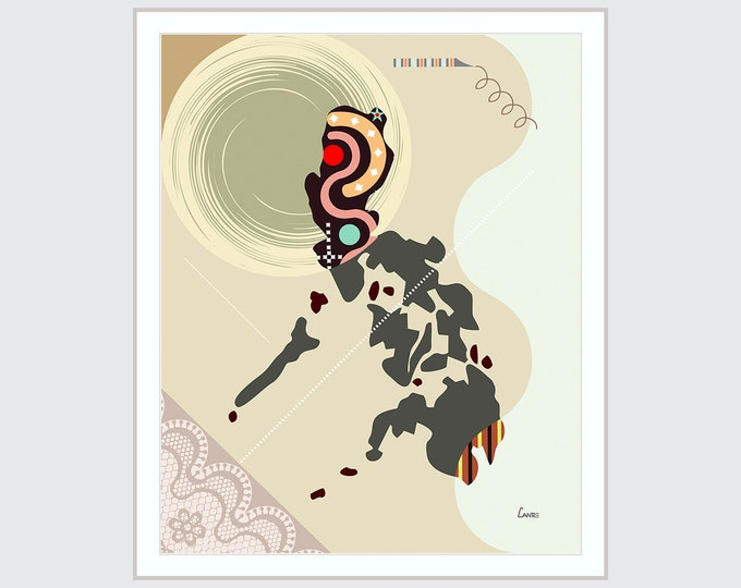 Philippines Modern Art Map, Manila Print Asian Country Abstract Cubist Geometric Design