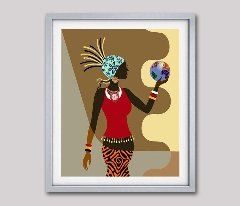 African American Wall Art, African Woman, Afrocentric Decor Art