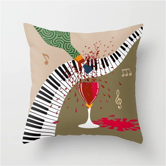 Music Throw Pillow, Piano Decorative Wine Lover Decor
