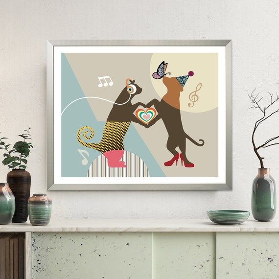 Cat and Dog Decor, Pet Lover Gift, Animal Pop Art Poster
