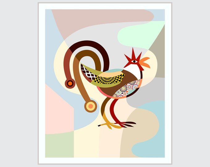 Rooster Kitchen Decor, Chicken Bird Art Print