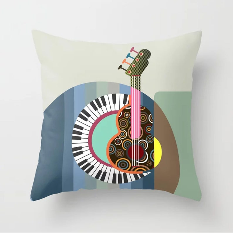 Music Throw Pillow Guitar Lover Gift Piano Décor image 0