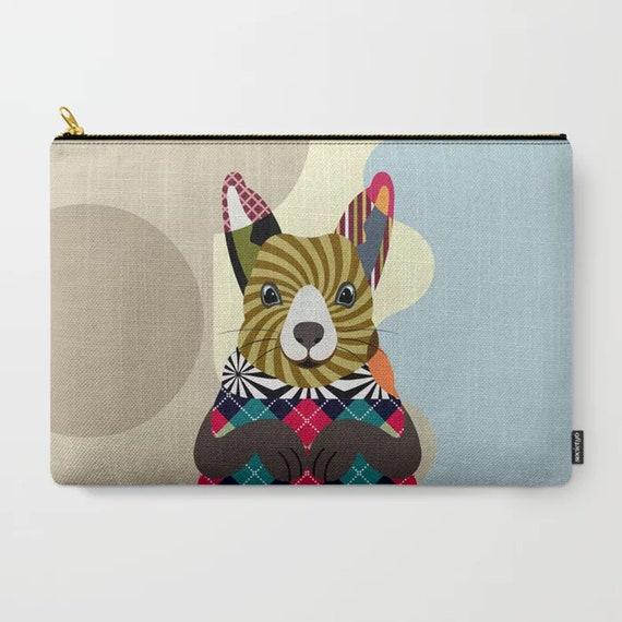 Squirrel Pouch, Farm Animal Gift Zipper Wallet