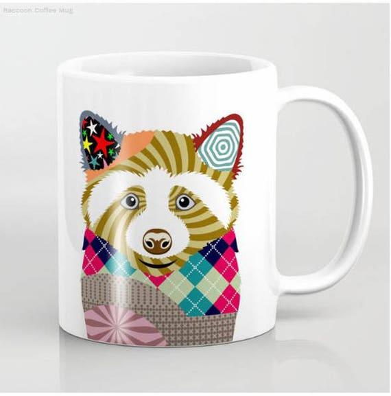 Raccoon Mug, Raccoon Gifts, Raccoon Art, Raccoon Painting, Raccoon Print, Animal Mug, Rodent