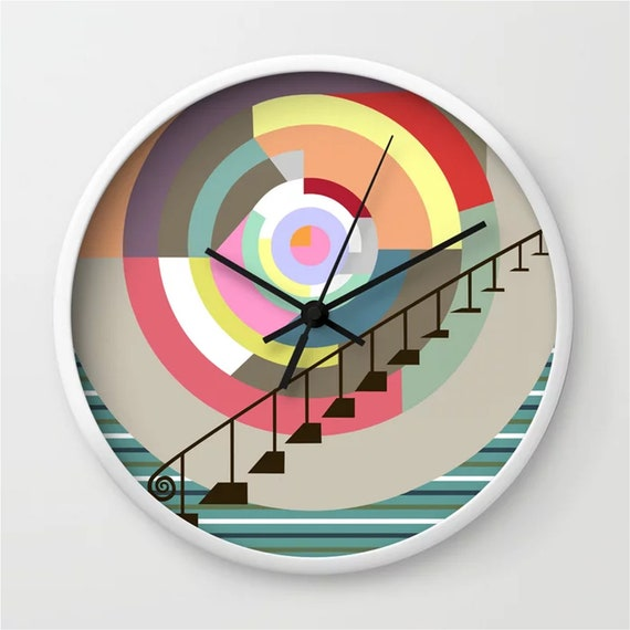 Colorful Wall Clock, Abstract Geometric Decor Art Print
