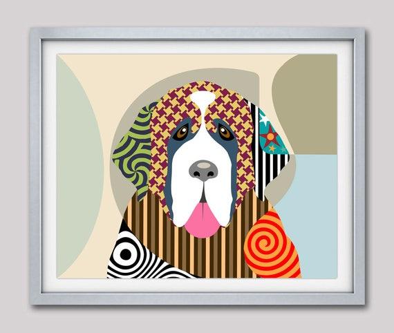 Saint Bernard Art, Saint Bernard Painting, Saint Bernard Gifts, Saint Bernard Print,  Dog illustration, Pop Art Dog