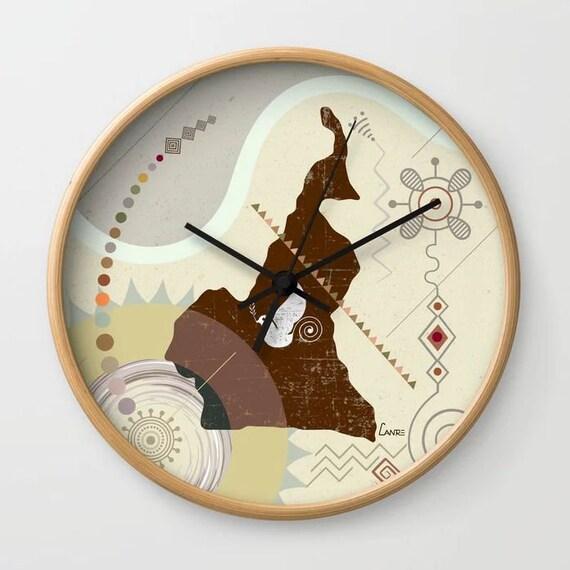 Cameroon Map Decor Art, Cameroon Art Clock Gift, Yaoundé West African Art, African Gift, African Decor, African Clock