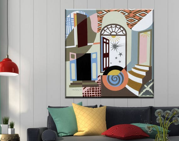Original Abstract Art, Geometric Art Painting, Cubist Painting, Door Wall Art Decor, Door Painting, Staircase Art, Inspirational Wall Art