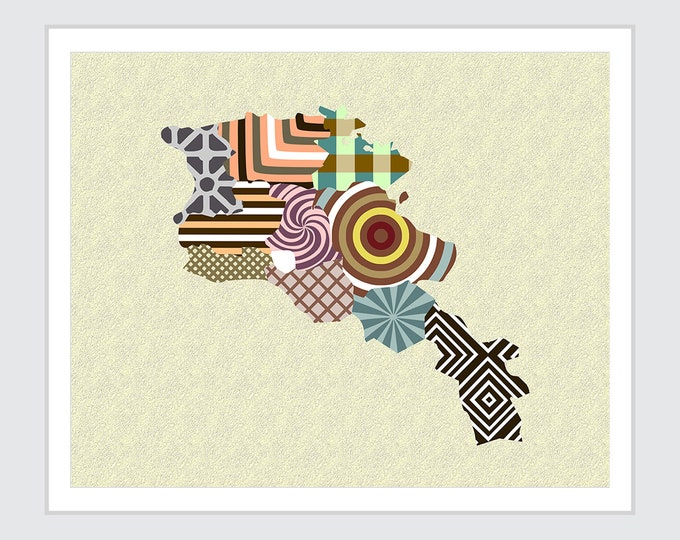 Armenia Map Print, Asian Wall Art Yerevan City Poster