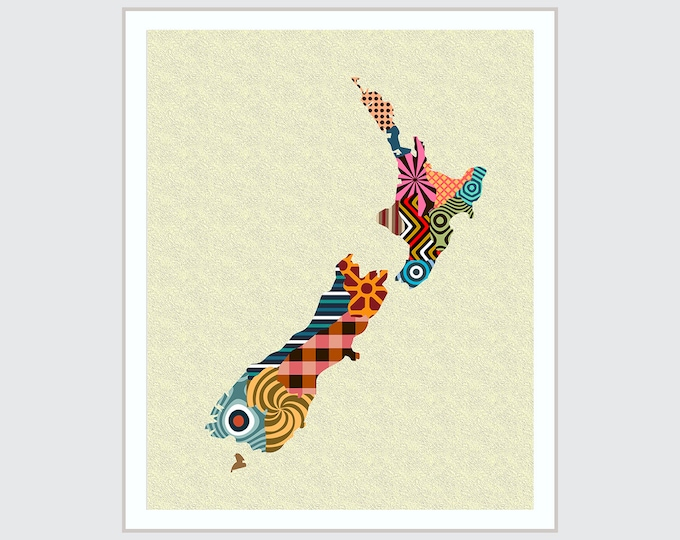 New Zealand Map Art, Wellington NZ Decor