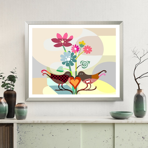 Love Bird Art Print Decor, Romantic Art Gift