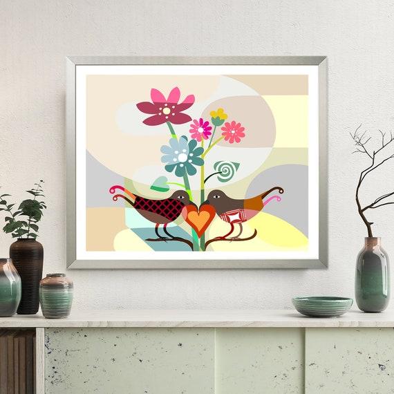 Love Bird Art Print Decor, Romantic Art Gift