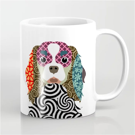 King Charles Cavalier Mug, Dog Colorful Ceramic Cup