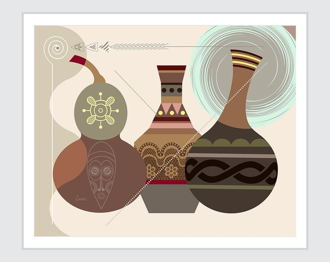 African Gourds, Calabash Afrocentric Decor Ethnic African