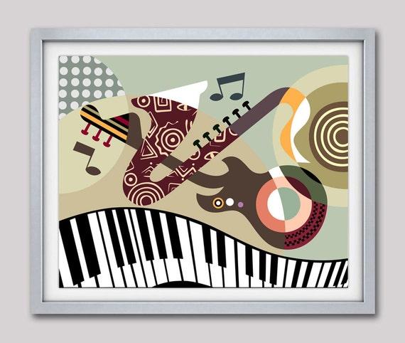 Music Art, Piano Art, Guitar Art Work, Saxophone Art, Music Decor, Music Teacher Gift, Music Gift, Music Wall Art
