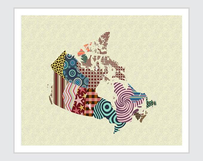 Canada Map, City Decor Geometric Design Cubist Art
