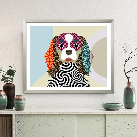 Cavalier King Charles Spaniel Art Print, Dog Pet Portrait Dog Lover Gifts