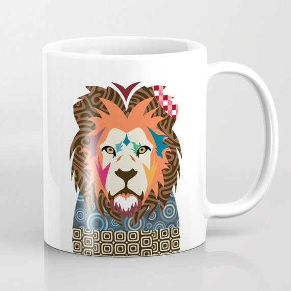 Lion Mug, Cute Animal Mug, Cecil The Lion Ceramic Mug, Tea Mug, Unique Drinking Coffee Mug,  Cool Coffee Mug