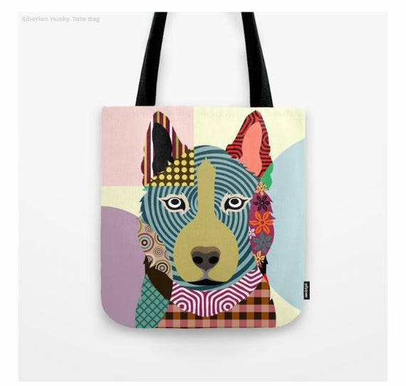 Husky Tote, Husky Bag, Siberian Husky Gifts, Husky Print, Dog Tote Bag, Dog Lover's Gift, Animal Lover Gift, Pet Tote Bag