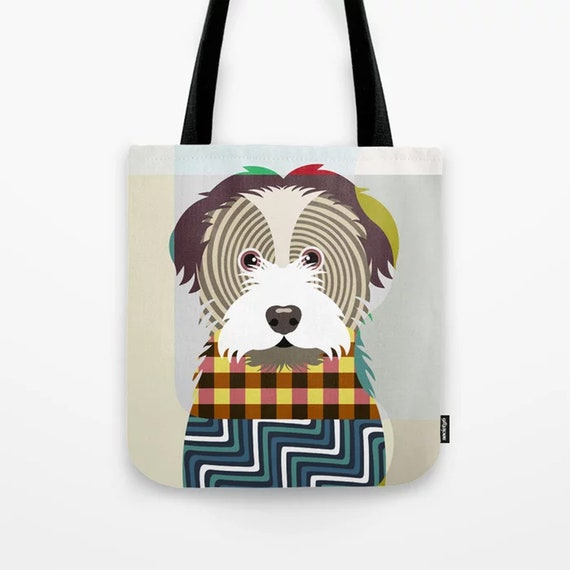 Havanese Tote, Dog Weekend Bag Doggy Portraits