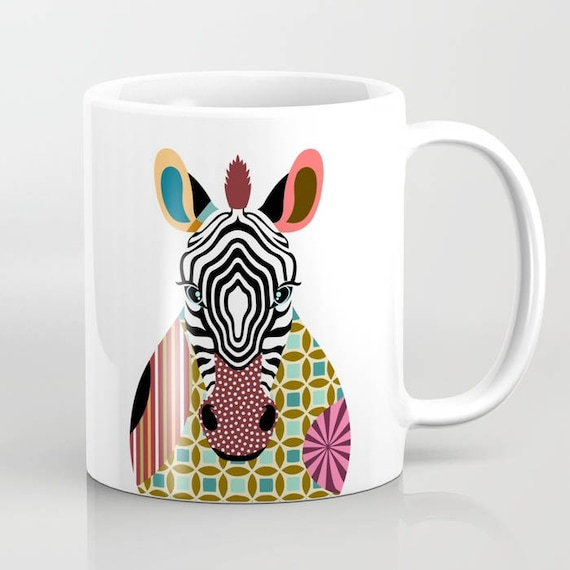 Zebra Mug, Zebra Gifts, Zebra Art Print, Zebra Decor, Zebra Painting, Animal Mug, Animal Art, Animal Lover Gifts