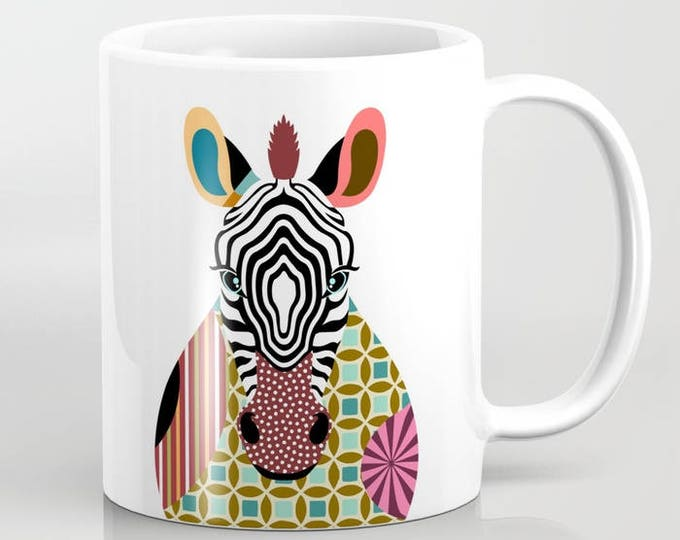 Zebra Ceramic Mug, Cute Animal Pop Art Print
