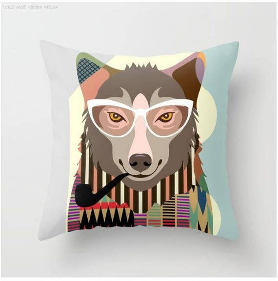 Wolf Pillow Home Decor, Funny Wolf Art