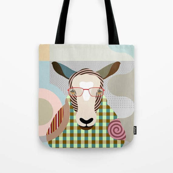 Sheep Tote Bag, Sheep Lovers Gift, Sheep Print Bag, Farm Animal Art, Animal Portrait, Farm Animal Gift, Farm Animal Gift Bag