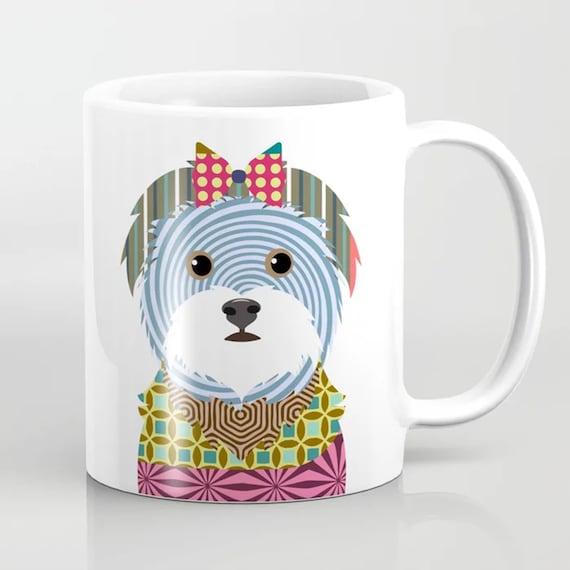 Maltese  Gift Ceramic Coffee Mug, Colorful Dog Print